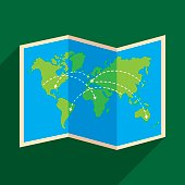 Vector illustration of a map with arrows against a dark green background in flat style.