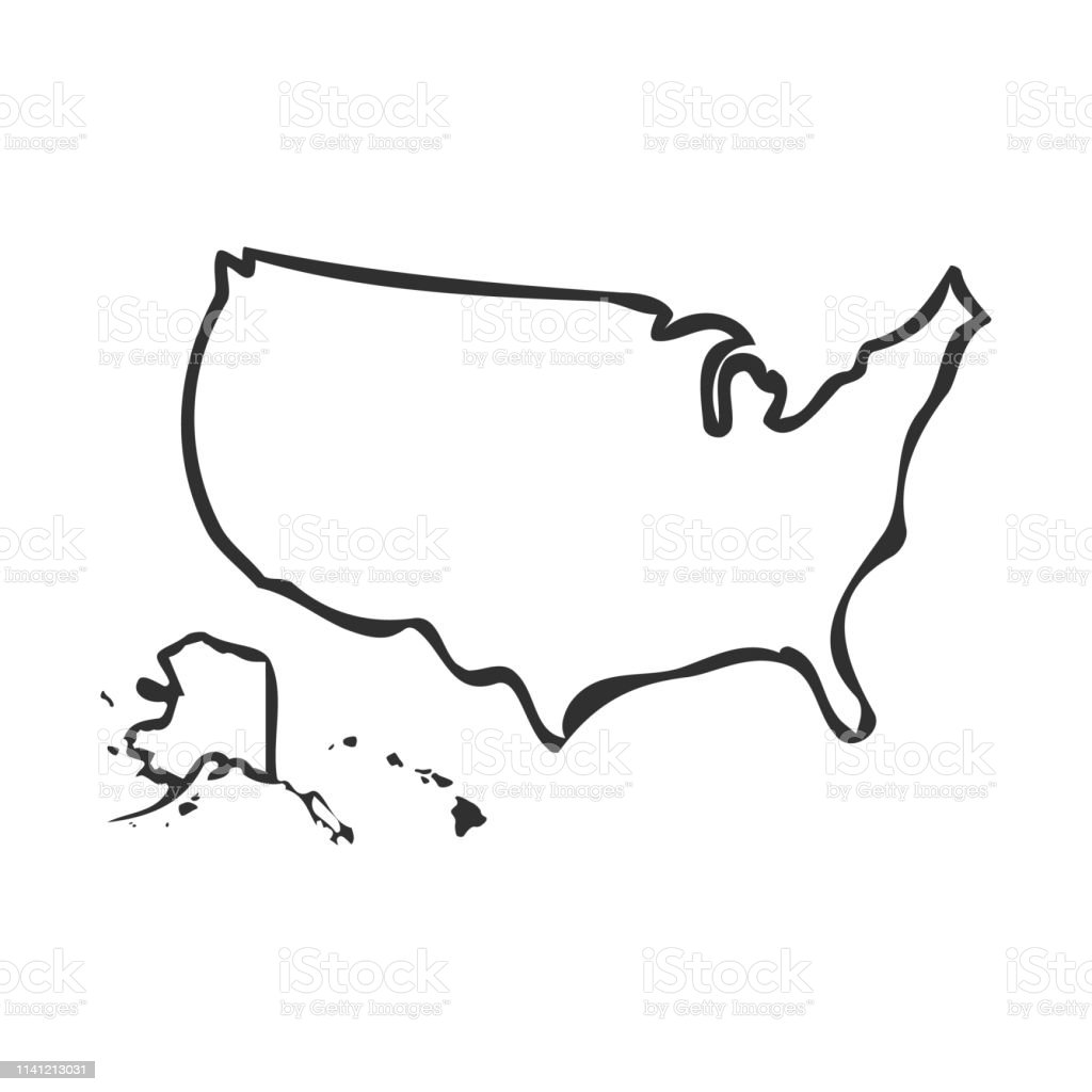 Usa Map Icon Isolated On White Background Vector ...