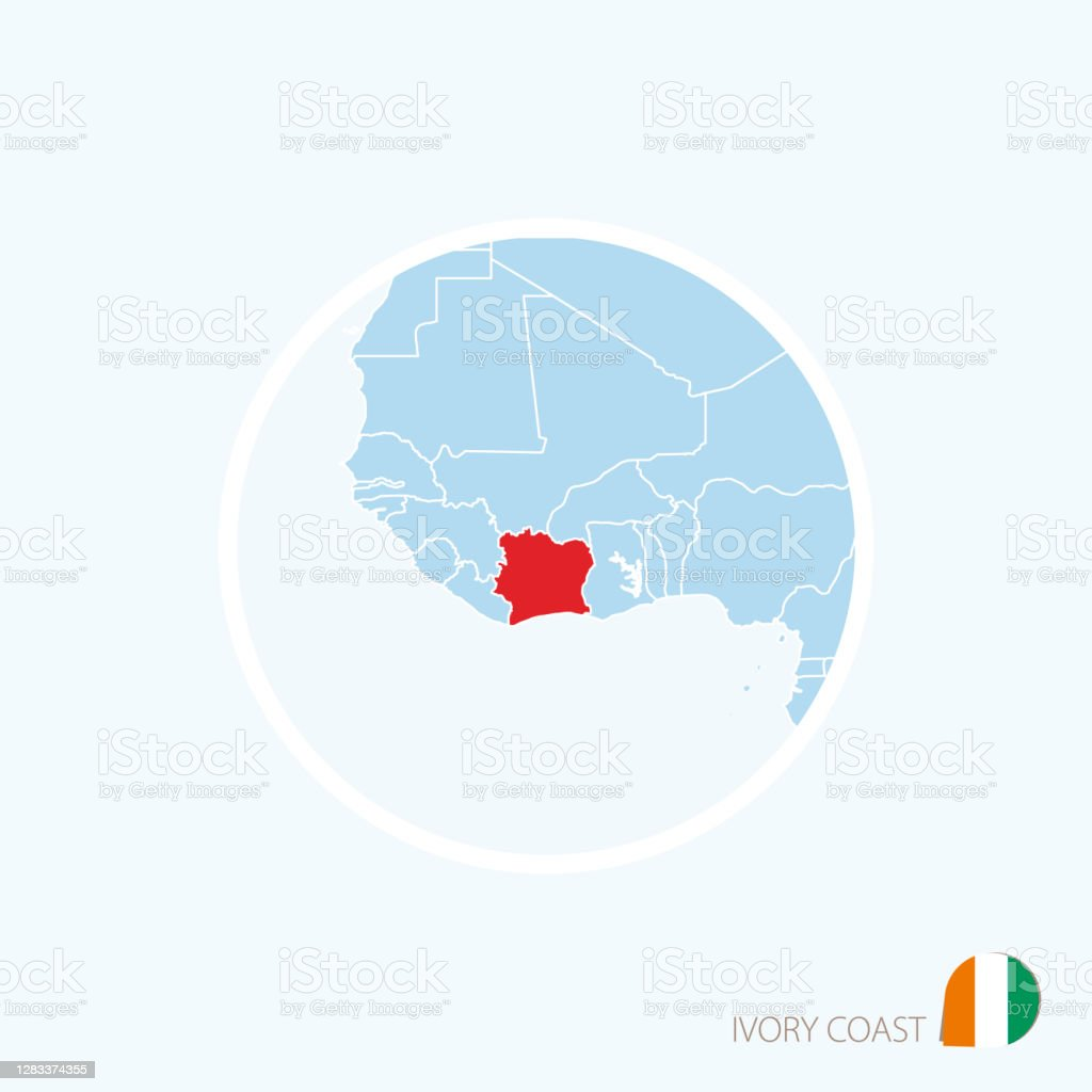 Picture of: Map Icon Of Ivory Coast Blue Map Of Africa With Highlighted Ivory Coast In Red Color Stock Illustration Download Image Now Istock