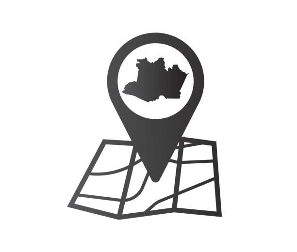 ilustrações, clipart, desenhos animados e ícones de ícone do mapa do estado do amazonas - manaus