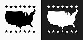 U.S.A Map Icon on Black and White Vector Backgrounds. This vector illustration includes two variations of the icon one in black on a light background on the left and another version in white on a dark background positioned on the right. The vector icon is simple yet elegant and can be used in a variety of ways including website or mobile application icon. This royalty free image is 100% vector based and all design elements can be scaled to any size.
