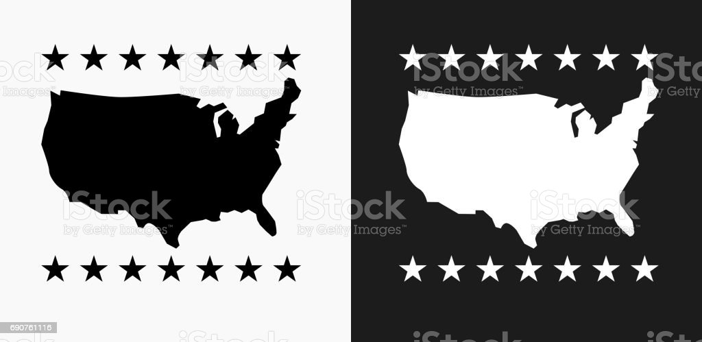 U.S.A Map Icon on Black and White Vector Backgrounds vector art illustration