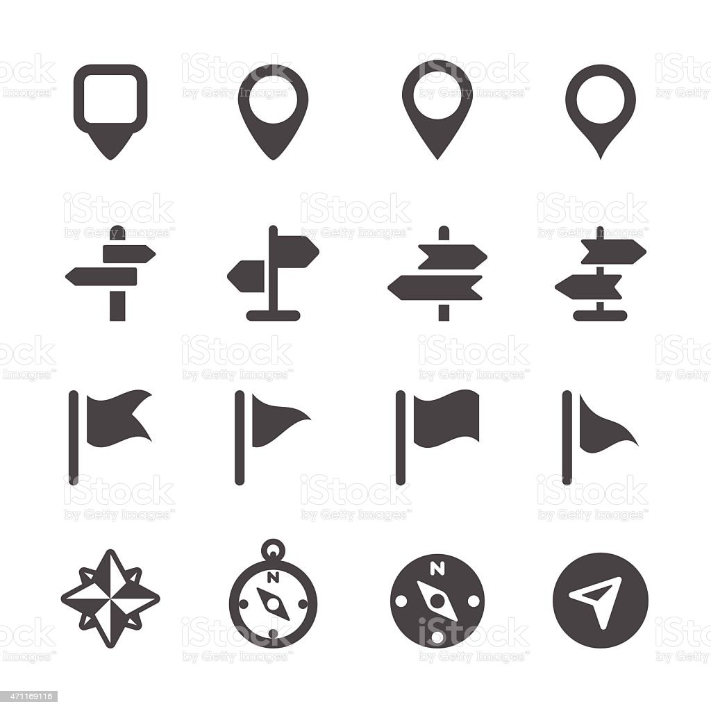 map icon set 3, vector eps10 vector art illustration
