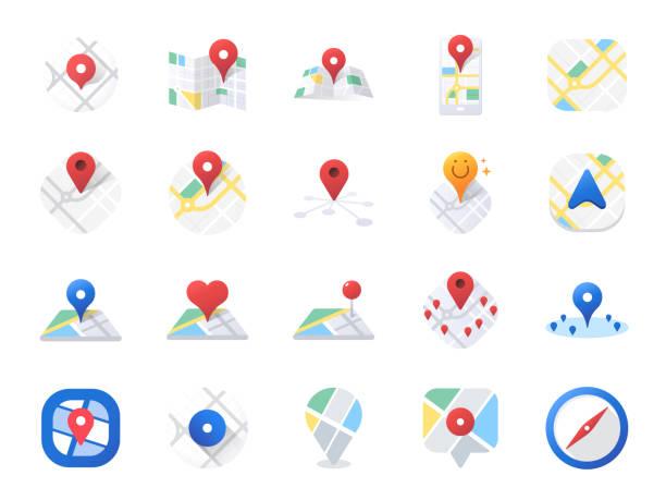 illustrazioni stock, clip art, cartoni animati e icone di tendenza di map icon set. included the icons as location, area, navigation, navigator, direction and more. - near