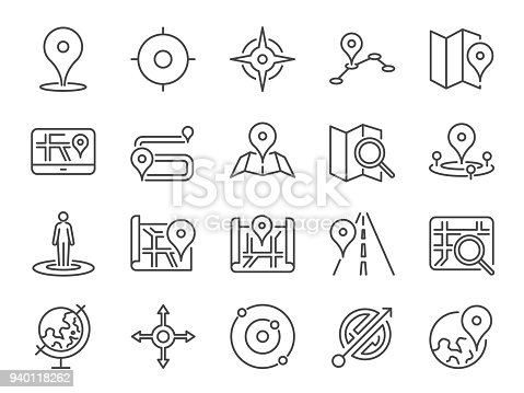 Map icon set. Included the icons as pin, nearby, direction, navigation, navigator, way, path and more.