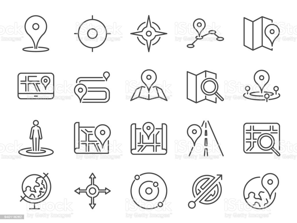 Map icon set. Included the icons as pin, nearby, direction, navigation, navigator, way, path and more. vector art illustration