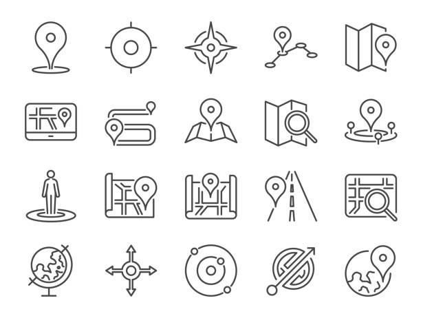 Map icon set. Included the icons as pin, nearby, direction, navigation, navigator, way, path and more. Map icon set. Included the icons as pin, nearby, direction, navigation, navigator, way, path and more. distant stock illustrations