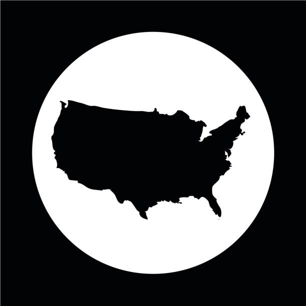 USA map icon vector art illustration