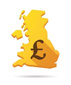 UK map icon with a currency sign