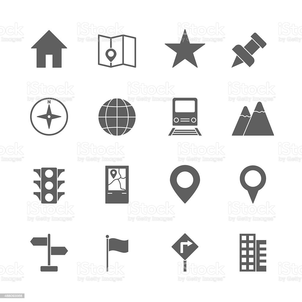 map icons set vector art illustration