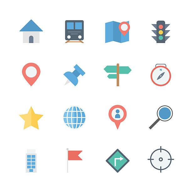 illustrazioni stock, clip art, cartoni animati e icone di tendenza di mappa icone set - subway