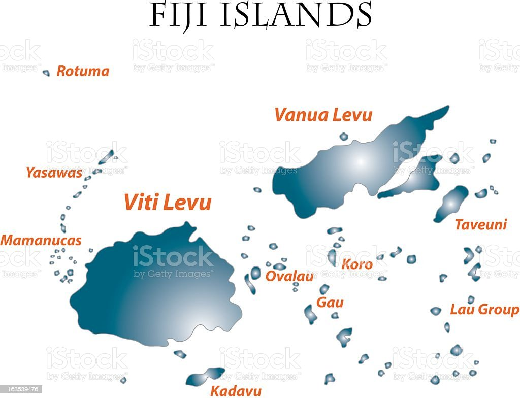 A Map Illustrating The Fiji Islands Stock Illustration