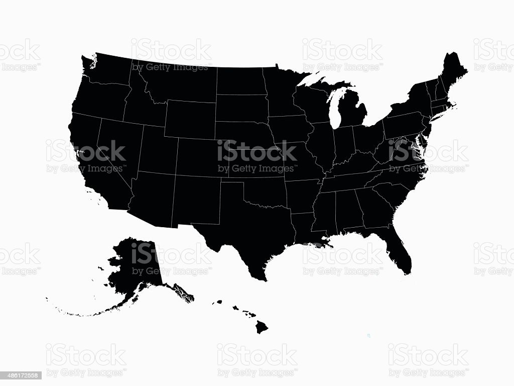USA map in black with state borders vector art illustration