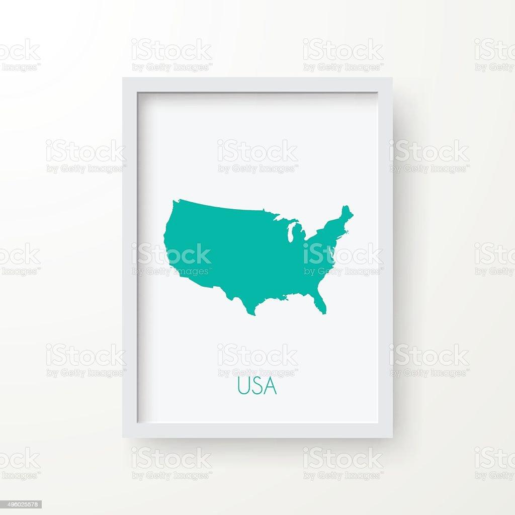 Usa Karte Auf Leere Bilderrahmen Auf Weißem Hintergrund Vektor ...