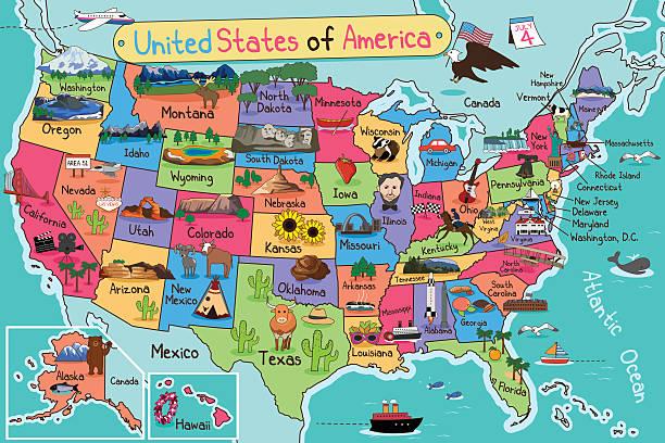 USA Map in Cartoon Style vector art illustration