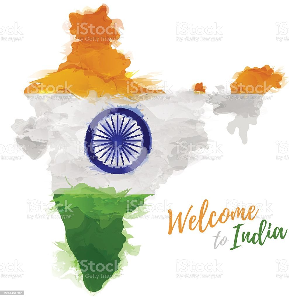 Map  India with the decoration of the national flag. vector art illustration