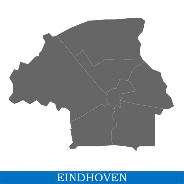 stockillustraties, clipart, cartoons en iconen met kaart is een stad van nederland - eindhoven