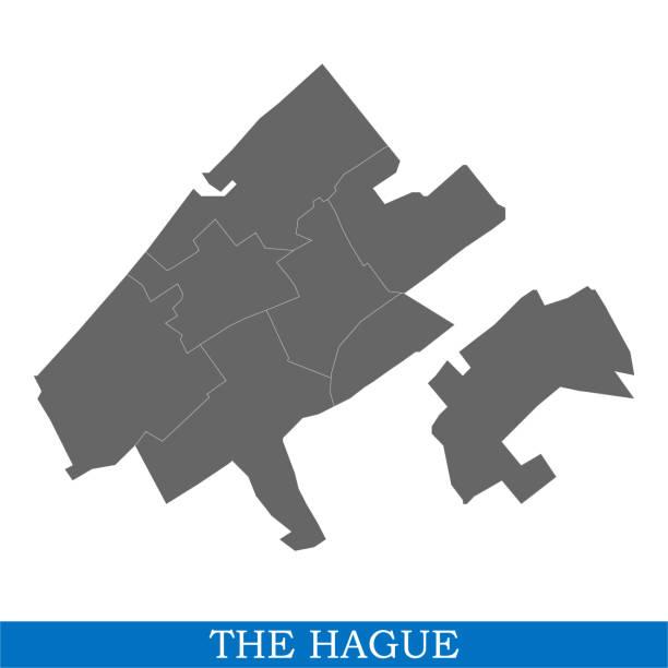 stockillustraties, clipart, cartoons en iconen met kaart is een stad van nederland - den haag