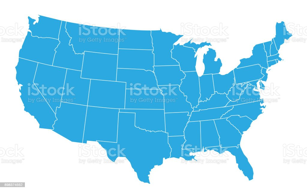USA map isolated on white background. United States of America country. Vector - ilustração de arte vetorial