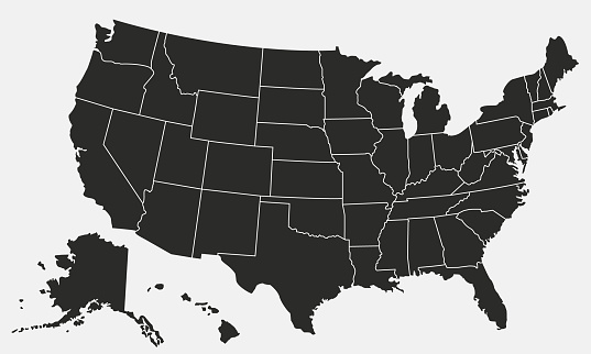 USA map isolated on white background. United States of America map. Vector template. clipart