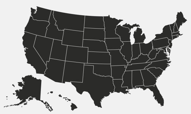 USA map isolated on white background. United States of America map. Vector template. Vector illustration vector stock illustrations