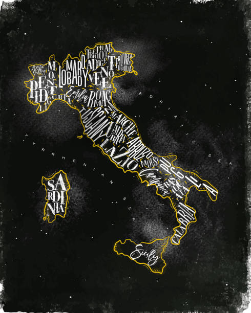 illustrazioni stock, clip art, cartoni animati e icone di tendenza di map italy vintage chalk yellow - calabria map
