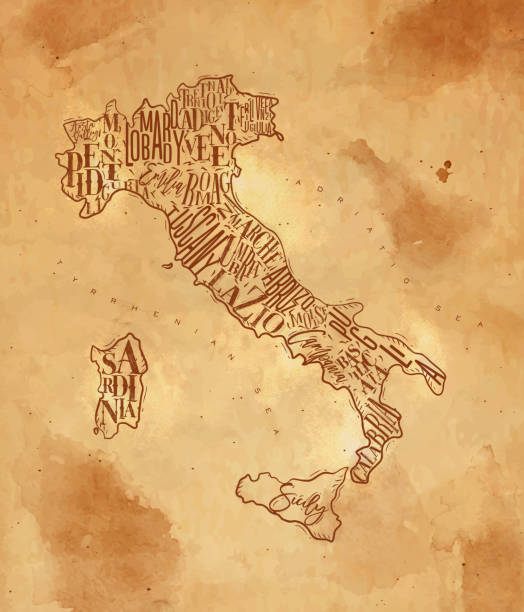 illustrazioni stock, clip art, cartoni animati e icone di tendenza di map italy vintage craft - calabria map