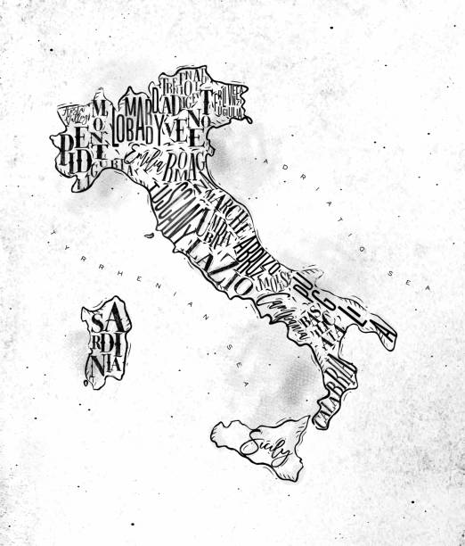 illustrazioni stock, clip art, cartoni animati e icone di tendenza di map italy vintage - calabria map