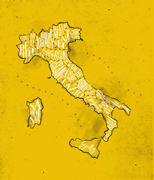 illustrazioni stock, clip art, cartoni animati e icone di tendenza di map italy vintage yellow - calabria map