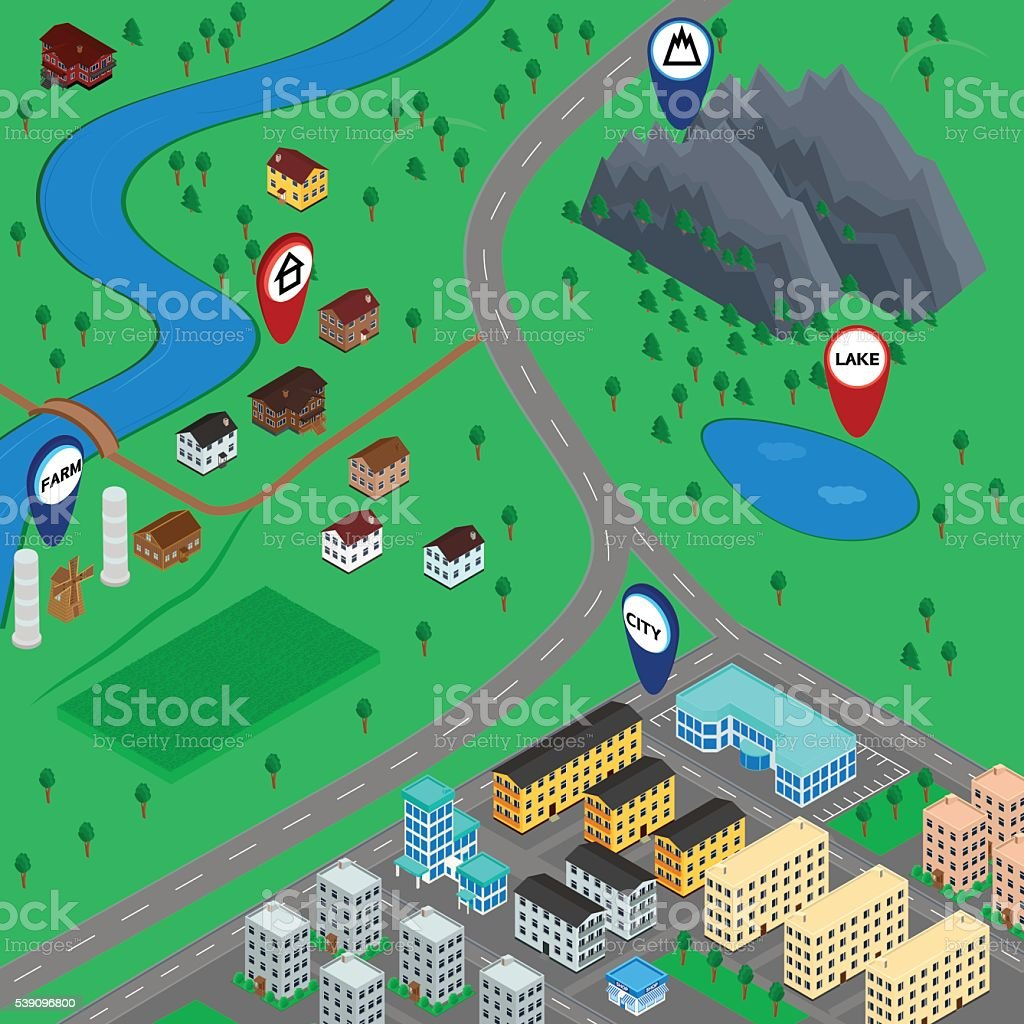 3D map landscape vector art illustration