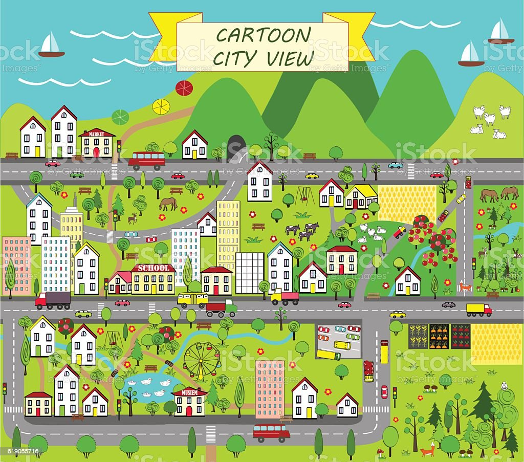 Map landscape with city, mountains, forest, and sea. vector art illustration