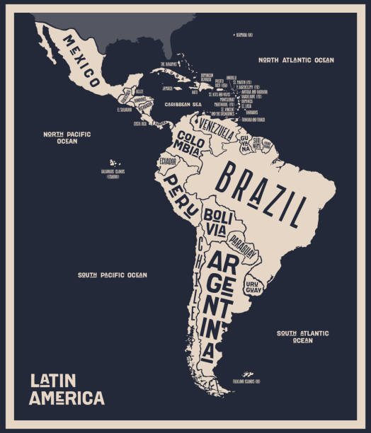 Map Latin America. Poster map of Latin America Map Latin America. Poster map of Latin America. Black and white print map of Latin America for t-shirt, poster or geographic themes. Hand-drawn graphic map with countries. Vector Illustration latin america stock illustrations