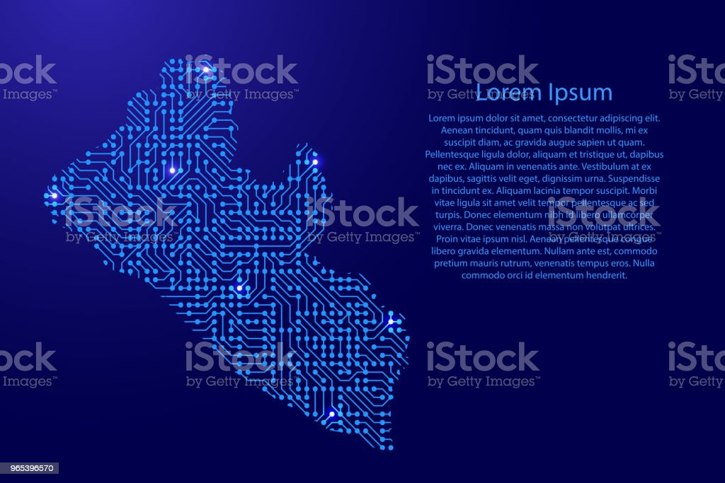 Map Liberia from printed board, chip and radio component with blue star space on the contour for banner, poster, greeting card. Computer electronics processor motherboard. Vector illustration. royalty-free map liberia from printed board chip and radio component with blue star space on the contour for banner poster greeting card computer electronics processor motherboard vector illustration stock vector art & more images of abstract