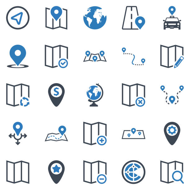 harita & konum simgesi seti-2 (mavi serisi) - hotel reception stock illustrations