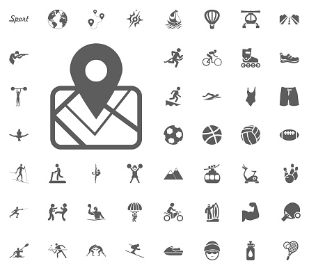 Map location icon. Sport illustration vector set icons. Set of 48 sport icons.
