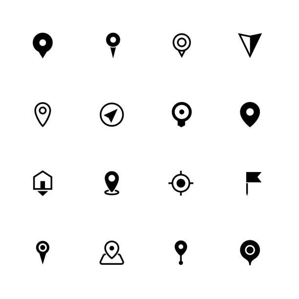 ilustraciones, imágenes clip art, dibujos animados e iconos de stock de mapa de colección de iconos de ubicación, símbolo para aplicaciones, páginas web o imprimir - íconos de mapas