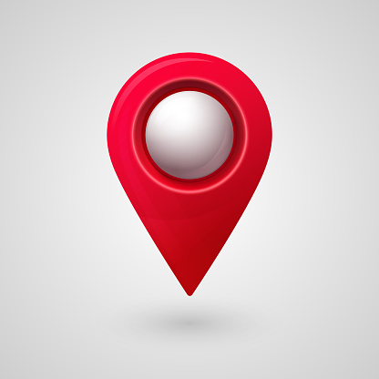 Map location pointer 3d pin with glowing glass bubble. Navigation icon for web, banner, logo or badge. Vector Illustration.