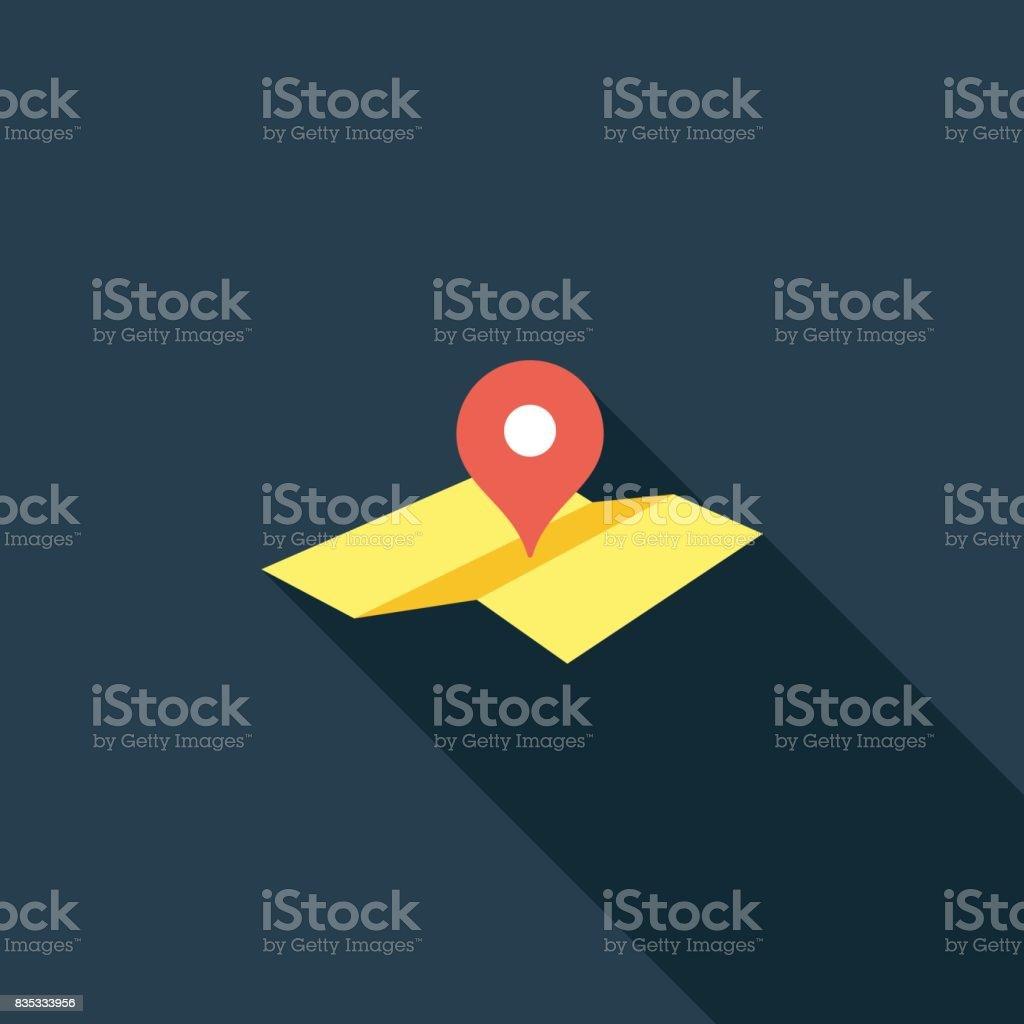 Icono de puntero plano mapa ubicación - ilustración de arte vectorial