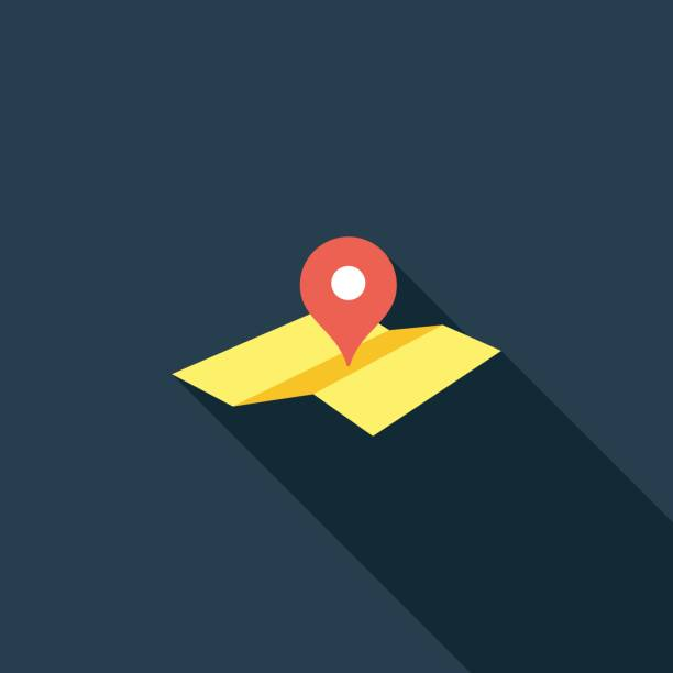 Map Location Pointer Flat Icon vector art illustration