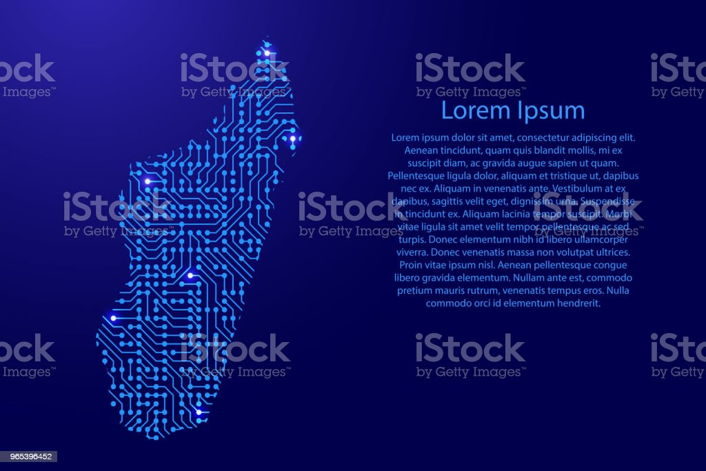 Map Madagascar from printed board, chip and radio component with blue star space on the contour for banner, poster, greeting card. Computer electronics processor motherboard. Vector illustration. royalty-free map madagascar from printed board chip and radio component with blue star space on the contour for banner poster greeting card computer electronics processor motherboard vector illustration stock illustration - download image now