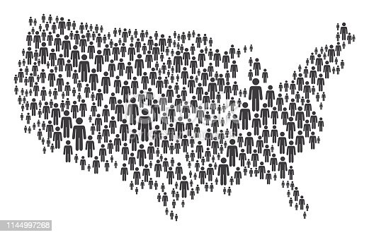 Vector of USA Map Made of Grey Stickman Figures