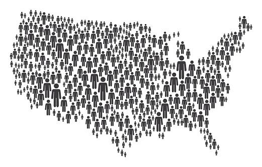 USA Map Made of Grey Stickman Figures