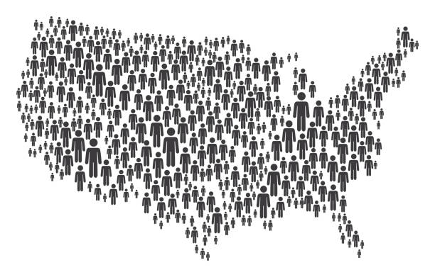 USA Map Made of Grey Stickman Figures Vector of USA Map Made of Grey Stickman Figures human representation stock illustrations