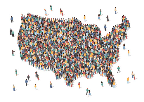 USA map made of many people, large crowd shape. Group of people stay in us country map formation. Immigration, election, multicultural diversity population concept. Vector isometric illustration