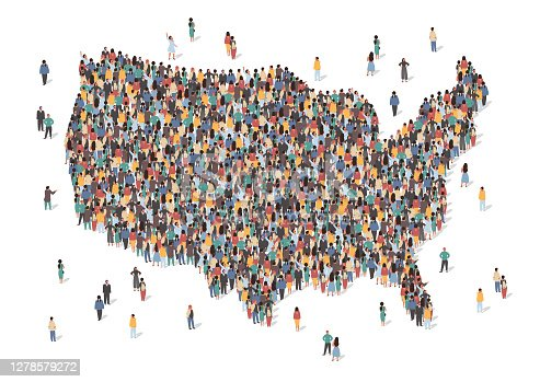 istock USA map made of many people, large crowd shape. Group of people stay in us country map formation. Immigration, election, multicultural diversity population concept. Vector isometric illustration 1278579272