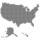 USA map made of round dots. Original abstract vector illustration for your design.