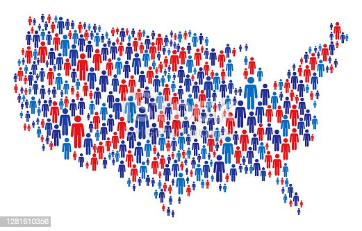 istock USA Map Made of Stickman Figure with Patriotic Colors 1281610356