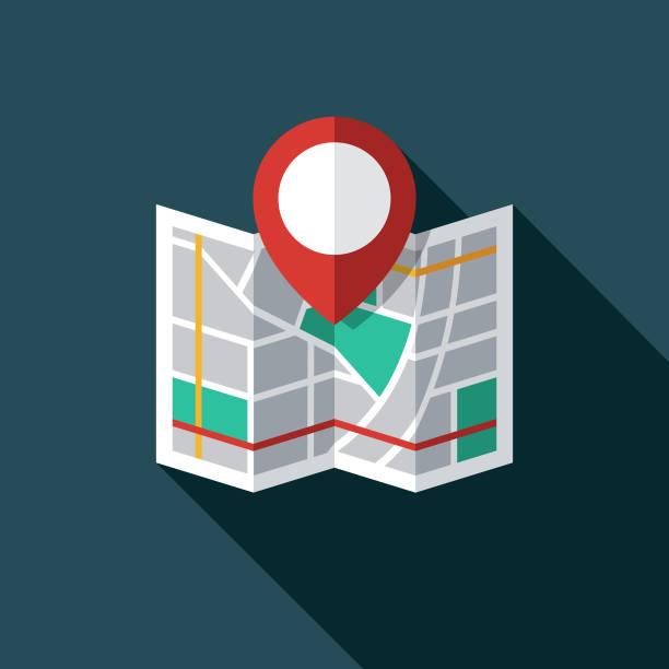 map marker icon - składany stan stock illustrations