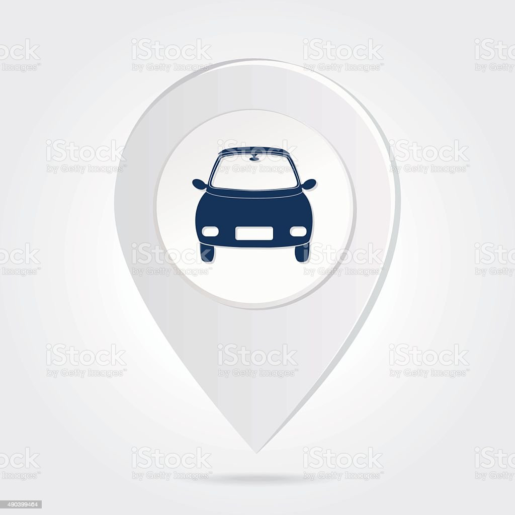 Map Marker Pin Blue Compact Car Silhouette Round Icon Button Stock