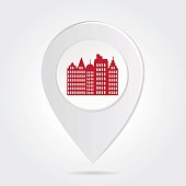 Map Marker Pin Red City Silhouette on Round Icon Button